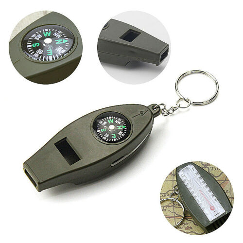 4 in 1 Compass Whistle Magnifier Thermometer Survival Emergency Outdoor Kits