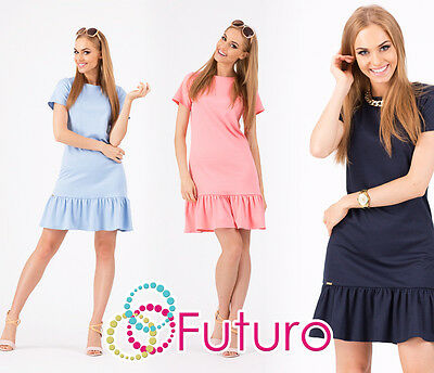 Women's Mini Dress Coctail Casual Short Sleeve Tiered Tunic Sizes 8-12 FA311