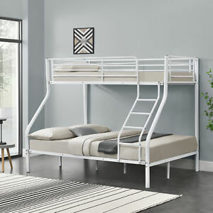 Kinder Etagenbett Stockbett Hochbett Bettgestell Bett Metall Weiß 200x140/90cm