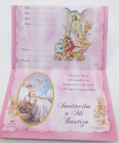 24 Invitaciones De Bautizo Spanish Christening girl baptism Invitations