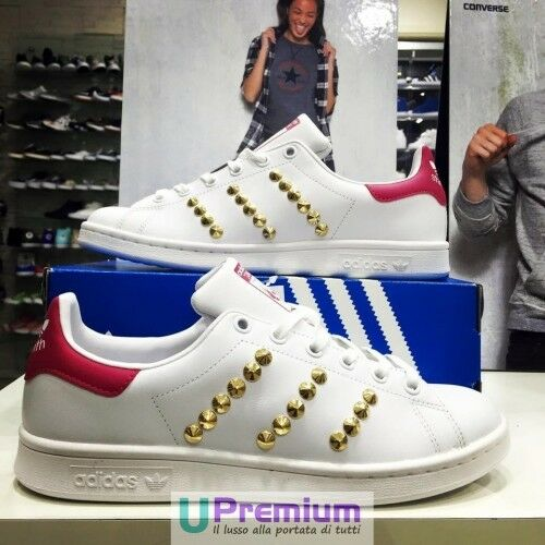 Adidas Stan  Smith Blanco Fucsia Tachonada Oro Zapatos  Stan ORIGINALES 2018 ITALIE 95bedc