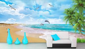 3D Beach Dolphin Penguin 7008 Wall Paper Wall Print Decal Wall AJ WALLPAPER CA