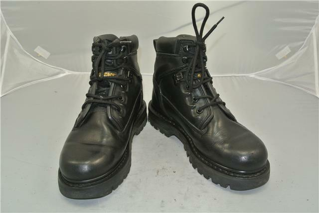 CATERPILLAR BLACK LEATHER WALKING BOOTS (UK SIZE 7) WALKING LEATHER MACHINES d08612
