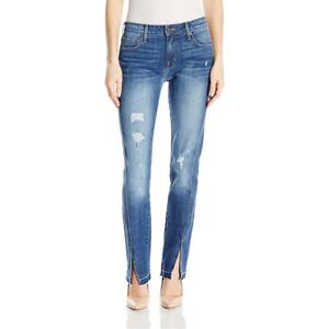Parker-Smith-Women-039-s-Twisted-Seam-Straight-Leg-Jeans-Size-0-25-Distressed-Blue
