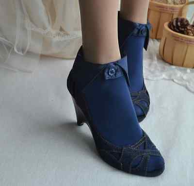 Charming JAPANESE fashion Collared SHIRT STYLE BUTTON UP socks 22-24cm DARK BLUE