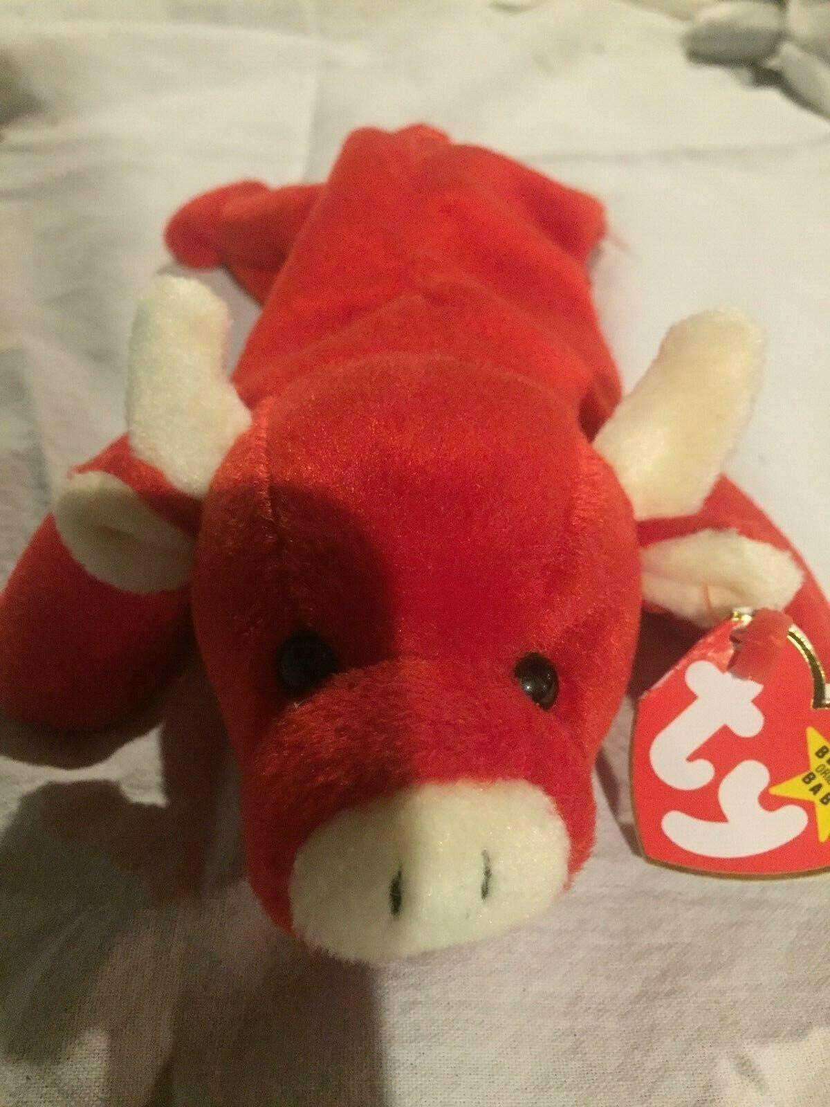 Retired TY Beanie Baby Tabasco the Red Bull. Mulitiple Tag Tag Tag and Tush Errors 5449c4