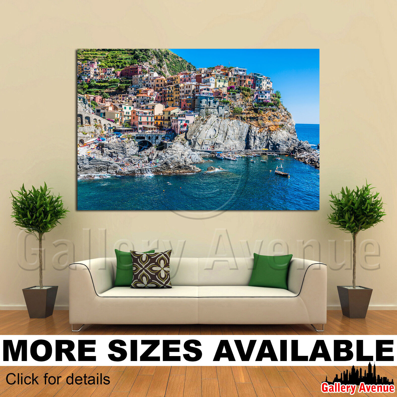 A Wall Art Canvas Picture Print - Village Manarola ferry Cinque Terre  3.2