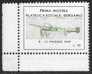 Italy-1947-Plane-Aviation-Cinderella-Poster-stamp-Seal-F-NH
