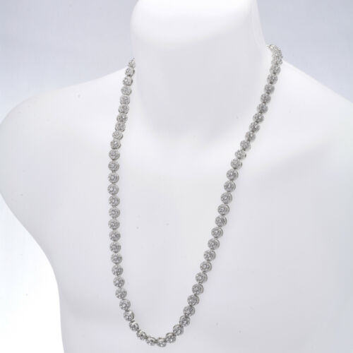 """Men/'s Fashion 1 Row Stoned Flower Shape Iced 10 mm 30/"""" CZ Chain Necklace"""