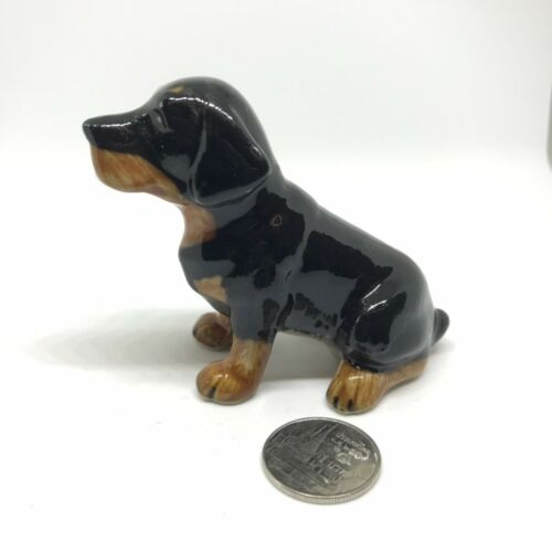 Rottweiler Dog Ceramic Animal Miniature Small Collectible Figurine Décor/_002
