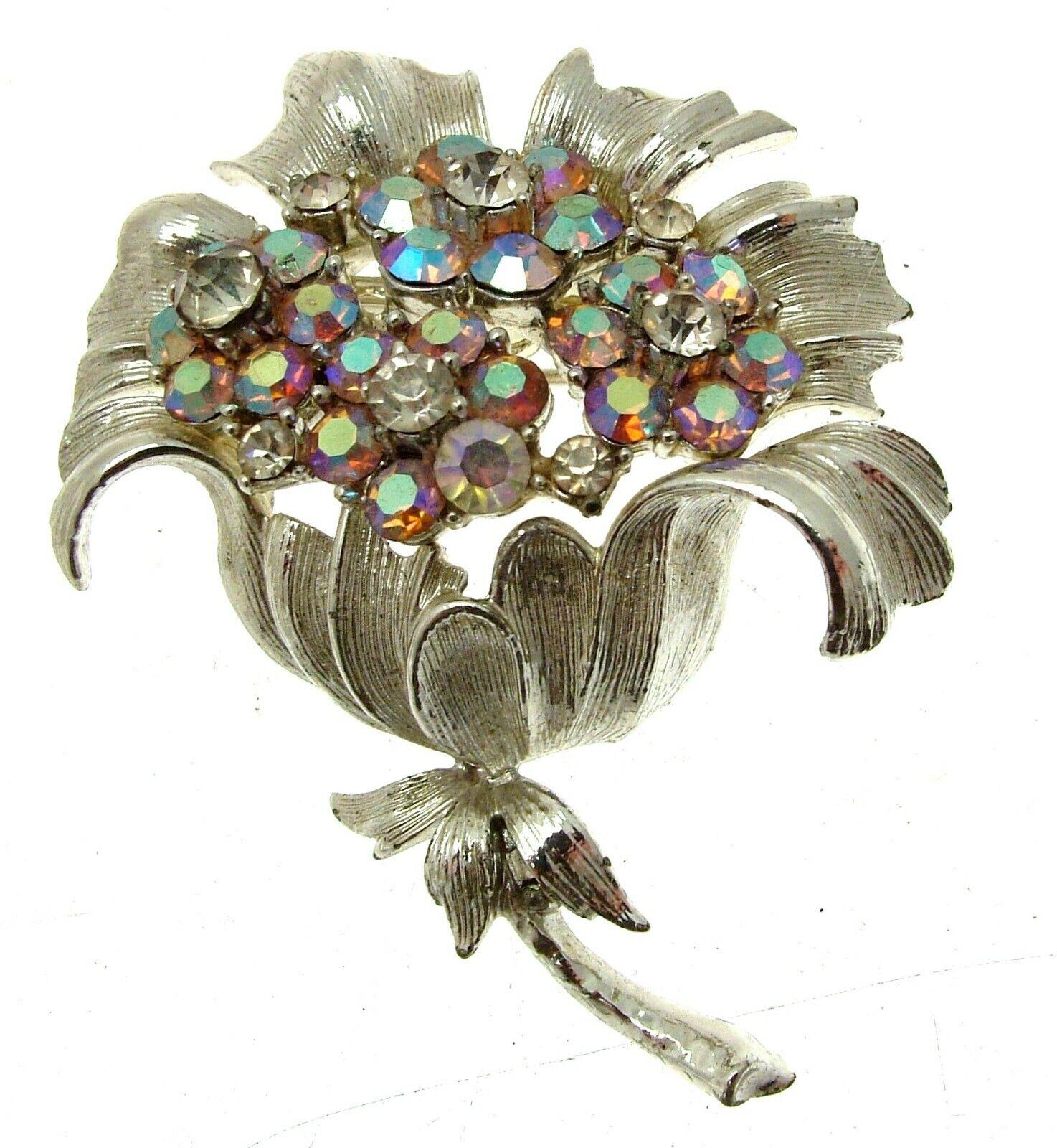 a59a1484b9a Brooches Rhinestone Brooch Brooch Floral Brooch 12383 Flower Vintage ...
