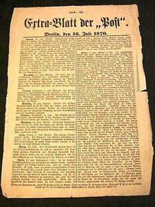 Depesche-Extra-Blatt-von-1870-Original-Ausgabe-Paris-Krieg-Militaria-1870-Depech