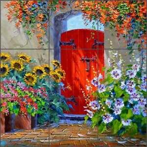 Tile-Mural-Backsplash-Ceramic-Senkarik-Tuscan-Floral-Gate-Art-MSA184