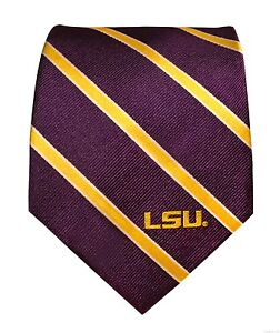 LSU-Tigers-Silk-Tie-NCAA-Licensed-Classic-Thin-Stripe-Louisiana-State-Purple