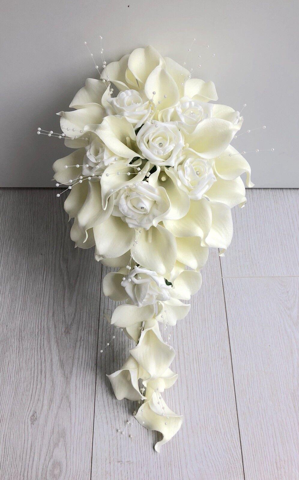 Ivoire Fleurs Artificielles Calla Lily Rose Mariage Douche teardrop bouquet mariée