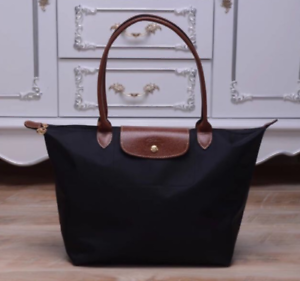 Auth-New-Longchamp-New-Le-Pliage-Nylon-Tote-Handbag-Navy-Black-Large
