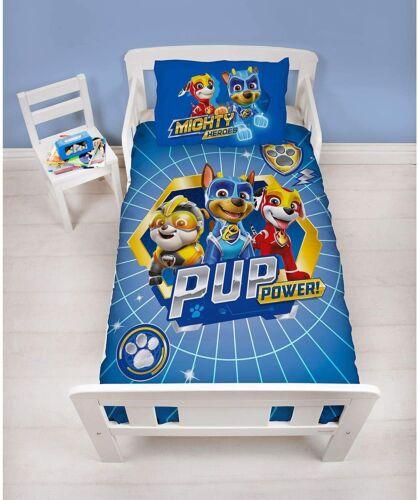 Junior Toddler Paw Patrol Super Reversible Bedding Set Blue Pups Dogs Character