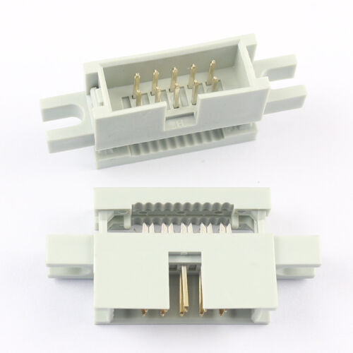 50Pcs 2.54mm 2x5Pin 10 Pin IDC Male Box Header Flat Cable Connector Mounting Ear