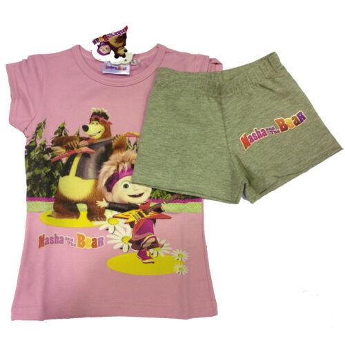 Pigiama MASHA E ORSO rosa e grigio t-shirt pantaloncino corto in cotone