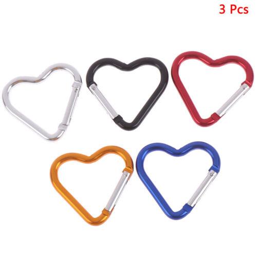3 Pcs Sport Aluminum Heart-Shaped Carabiner Key Chain Clip Hook Backpack Buc rs