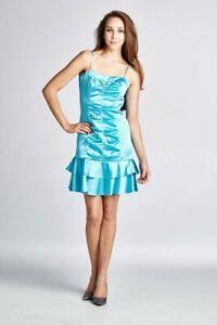 Woman-Satin-Spaghetti-Strap-Party-Dress-Midi-Short-Evening-Sml-Free-Shipp-US