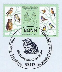 Rfa 2008: Protection Des Oiseaux D'attente Seebach Nr 2661 Avec Bonner Cachet Spécial! 1a! 1612-te Seebach Nr 2661 Mit Bonner Sonderstempel! 1a! 1612afficher Le Titre D'origine