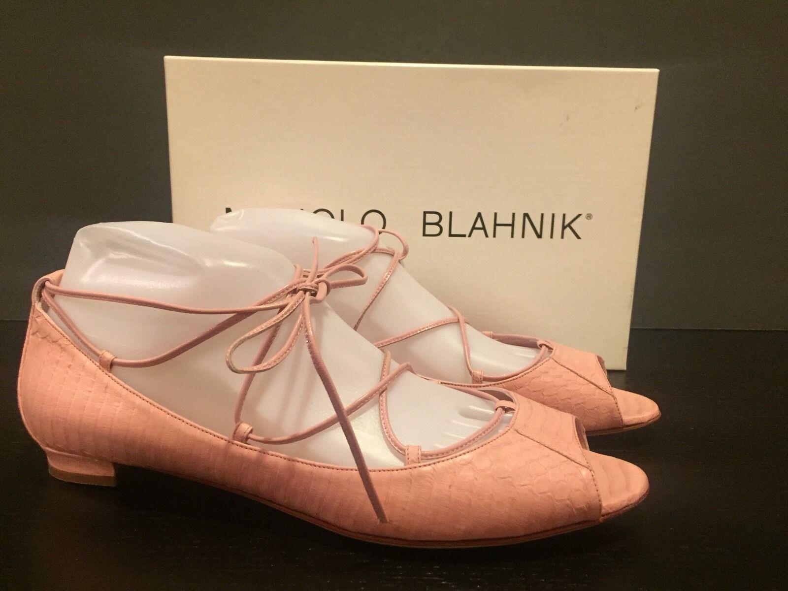 Manolo Manolo Manolo Blahnik Aneska Ballet Flats Leather Snake Print rose 39.5 9.5 NWB  795 5b2ba1