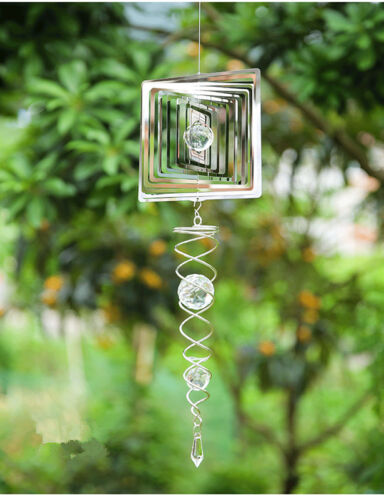 3D Windspiel mit Kugelspirale Drehmotor Edelstahl Windglocke Garten Terrasse