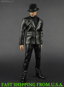 "1//6 Scale Black Leather Suit Full Set For 12/"" PHICEN Hot Toys Male Figure ❶USA❶"