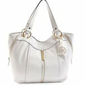 69d287cbe18f NEW-MICHAEL KORS MD MOXLEY VANILLA WHITE LEATHER TOTE,PURSE,SHOULDER ...