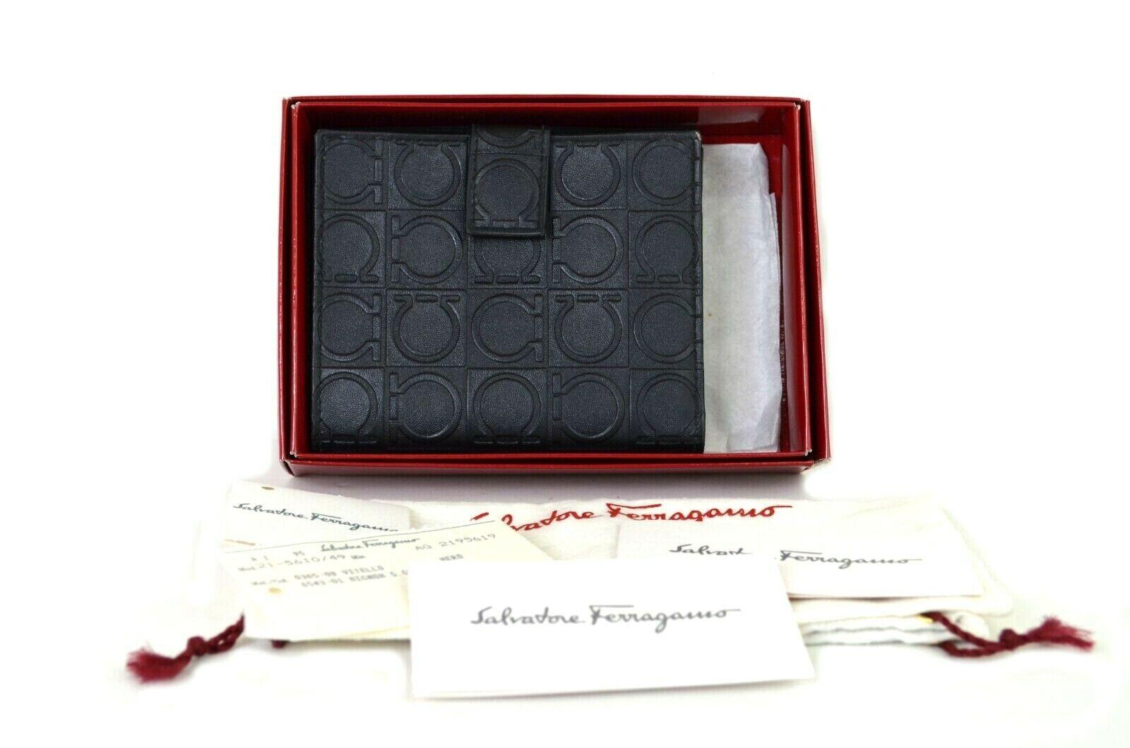 Auth Salvatore Ferragamo Black Leather Gancini Logo Wallet Purse Women Italy4666