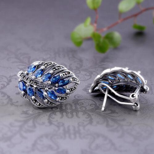 A03 Ohrring Blatt aus Sterling Silber 925 und blauem Korund