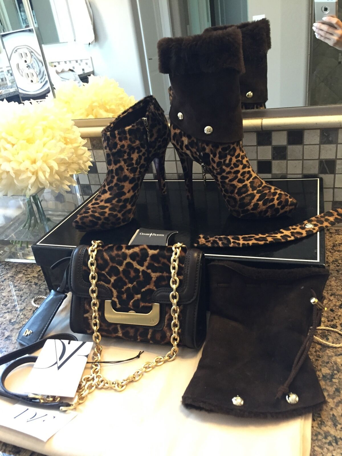 Cesare Paciotti Leopard 2in1 Ankle Boots Booties Pony Shearling 36/US 6 Used Onc