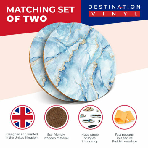 2 X Coasters Marbled Art Effect Blue Gold Marble Home Gift 21153