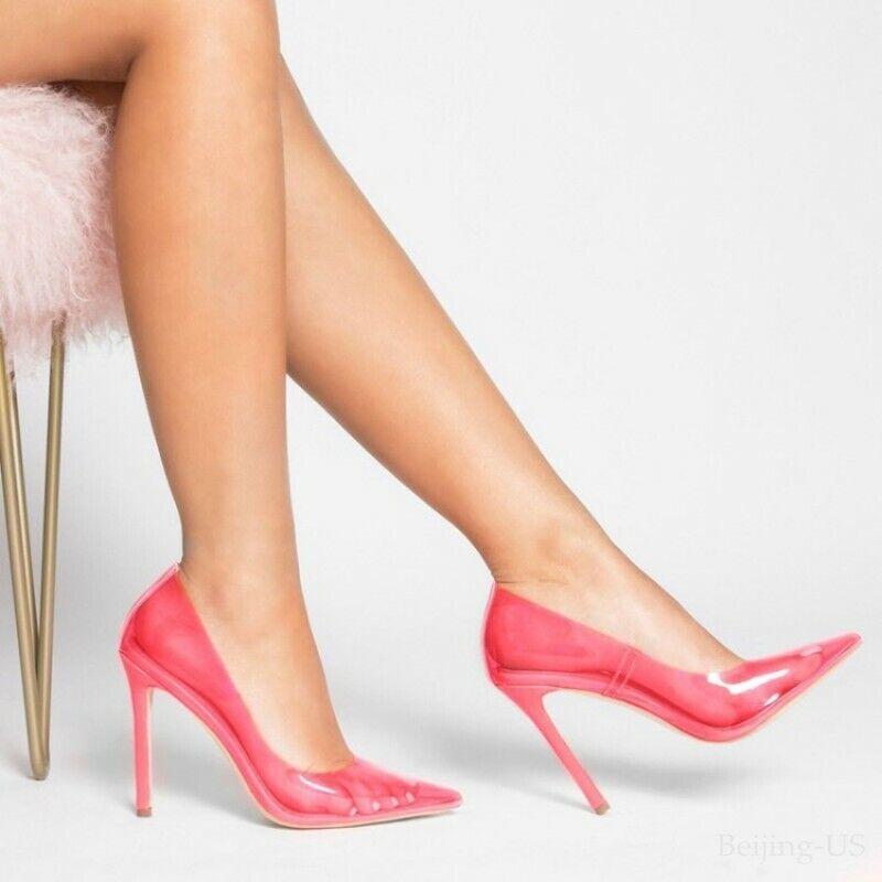 Damen Sommer Transparent PVC High Heel Gericht Schuhe Party Clubwear Stiletto