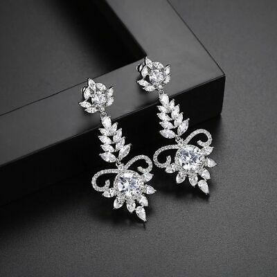 2Ct Brilliant Round Cut VVS1 Diamond Drop Dangle Earrings 14k White Gold Over