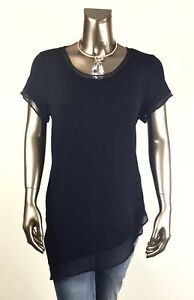 CHICO-039-S-TRAVELER-NWT-SIZE-2-L-BLACK-CHIFFON-TRIM-SHORT-SLV-ASYMMETRICAL-TOP