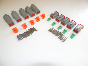5-sets-GRAY-Deutsch-DT-4-Pin-Connectors-14-16-18-ga-AWG-Solid-Contacts