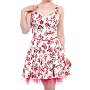 Banned-Apparel-Red-Rose-Floral-50-039-s-Style-Vintage-Strappy-White-Mini-Dress