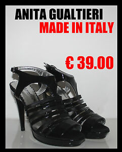 SANDALI Decolt DONNA GUALTIERI MADE IN ITALY PELLE VERNICE 35 36 37 38 39 40