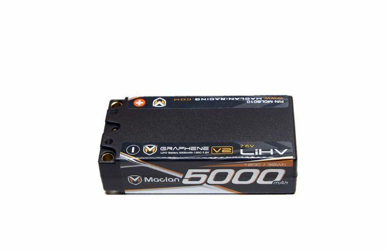 Maclan Racing Graphene  V2 High Voltage 5000mAh 2S (7.6V) Shorty Battery MCL6010  prezzi bassi