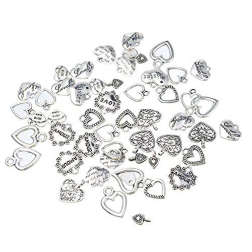 30 un. mixtas Estilo Corazón Encantos-fabricación de joyas resultados para hágalo usted mismo Artesanía C3S2 3X