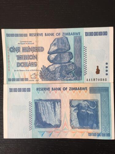 1 x Zimbabwe 100 Trillion Dollars AUNC 100 Trillion Series AA//2008