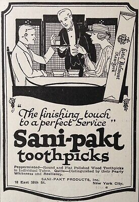 ~sani-pakt Products Co Nyc Sani-pakt Toothpicks Pleasant To The Palate j33 Latest Collection Of 1921 Ad