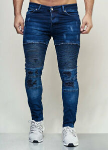 JEANS-Uomo-Biker-Pantaloni-Jeans-Blu-Stonewash-STRAPPATI-SLIM-FIT-John-Kayna