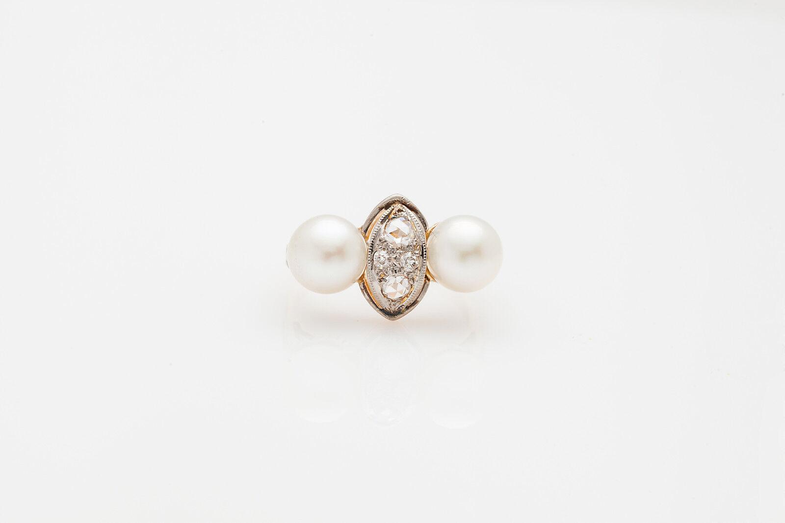 Antique 1920s ART DECO 8mm Cultured Pearl .50ct Diamond 14k gold Platinum Ring