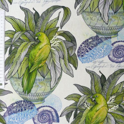 Dekostoff Plante Oiseau Coquillage Blanc Bleu Vert