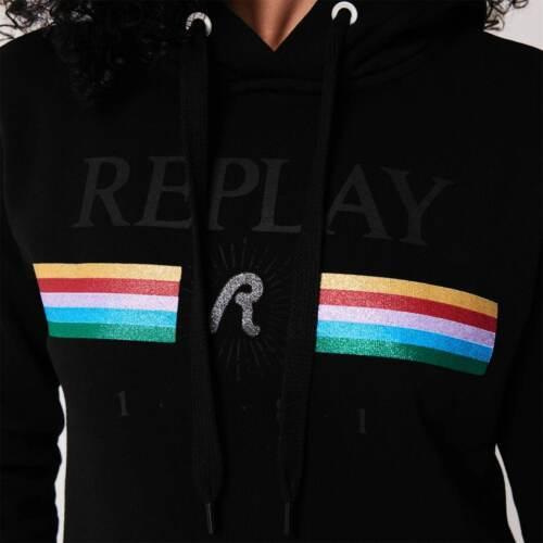 Haut femme Replay Rainbow Sweat à capuche OTH à manches longues NOUVEAU