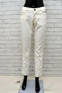 Jeans-ROY-ROGERS-Donna-Taglia-40-Pantalone-Slim-Cotone-Woman-Bianco-Gamba-Dritta