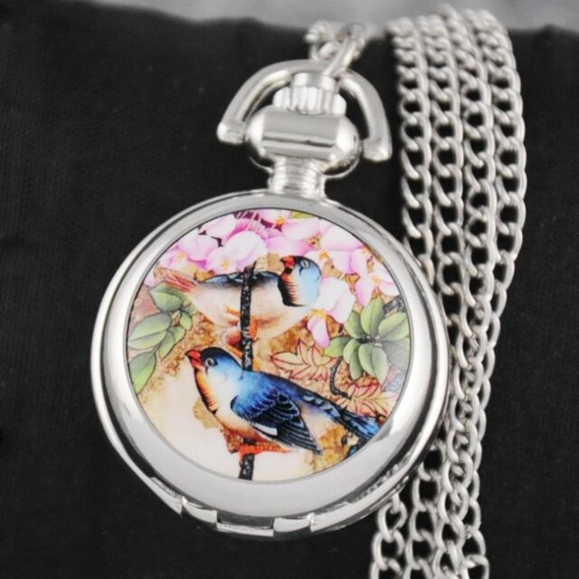 Pretty Birds Flowers Pocket Watch Pendant Necklace Quartz Dress